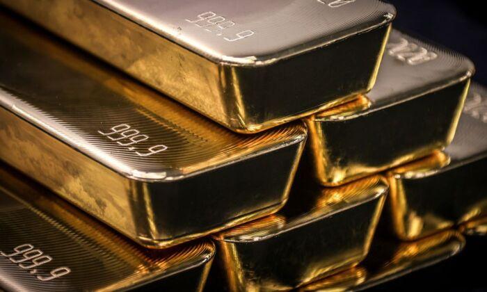Gold bullion bars in Sydney on Aug. 5, 2020. (David Gray/AFP via Getty Images)