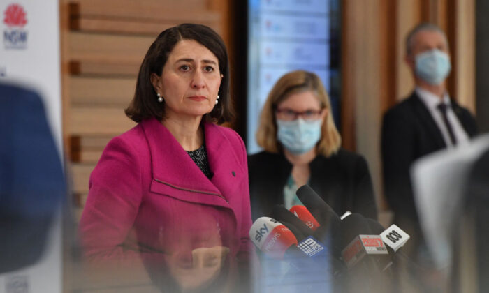 NSW Premier Gladys Berejiklian and Chief Health Officer Dr Kerry Chant at a press conference to provide a COVID-19 update in Sydney, Australia, on Aug. 6, 2021. (Mick Tsikas-Pool/Getty Images)