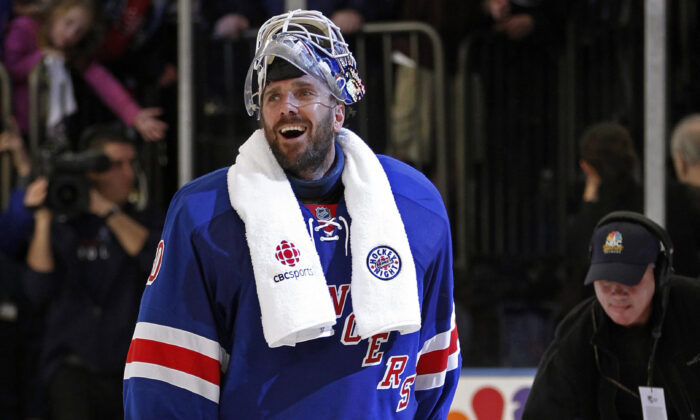 New York Rangers goalie Henrik Lundqvist (30) reacts after the Rangers defeated the Washington Capitals in Game 7 of a second-round NHL hockey Stanley Cup playoff series at Madison Square Garden in New York, on May 12, 2012. (Kathy Willens/AP Photo)