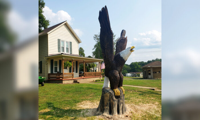 Craftsman James McGrath, from McConnelsville, Ohio, sculpted two giant bald eagles for his client, Vietnam veteran Ron Hall. (Courtesy of James McGrath)