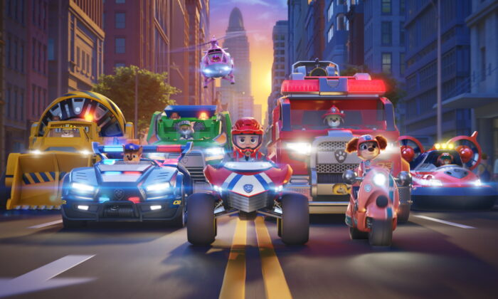 """Rubble (voiced by Keegan Hedley), Chase (voiced by Iain Armitage), Rocky (voiced by Callum Shoniker), Skye (voiced by Lilly Bartlam), Ryder (voiced by Will Brisbin), Marshall (voiced by Kingsley Marshall), Liberty (voiced by Marsai Martin), and Zuma (voiced by Shayle Simons) in """"Paw Patro: The Movie"""" from Paramount Pictures. (Spin Master/Handout via Reuters)"""