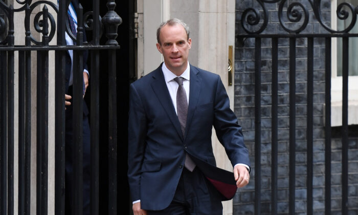 British Foreign Secretary Dominic Raab leaves Downing Street on Aug. 19, 2021. (Chris J Ratcliffe/Getty Images)