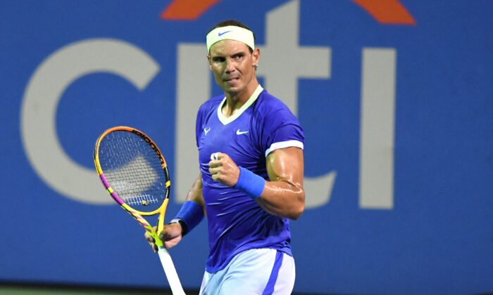 Rafael Nadal of Spain celebrates a shot during a match against Lloyd Harris of South Africa on Day 6 during the Citi Open at Rock Creek Tennis Center in Washington, DC., on Aug. 5, 2021. (Mitchell Layton/Getty Images)