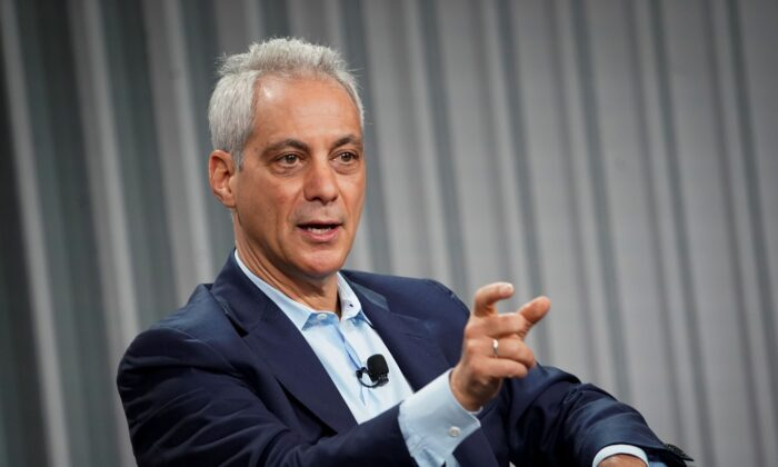 Rahm Emanuel, former mayor of Chicago, speaks during the Wall Street Journal CEO Council, in Washington, on Dec. 10, 2019. (Al Drago/Reuters)