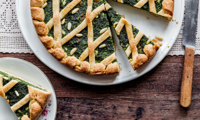 Get past the savory associations of this Swiss chard tart's green filling, and you'll be surprised with a delicately sweet, spiced dessert. (Giulia Scarpaleggia)
