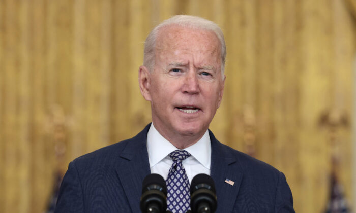 President Joe Biden delivers remarks on the U.S. military's ongoing evacuation efforts in Afghanistan from the East Room of the White House in Washington on Aug. 20, 2021. (Anna Moneymaker/Getty Images)