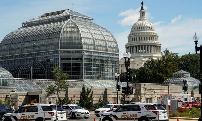U.S. Capitol Police vehicles and other emergency vehicles respond as police investigated reports of a suspicious vehicle near the U.S. Capitol in Washington, on Aug. 19, 2021. (Elizabeth Frantz/Reuters)