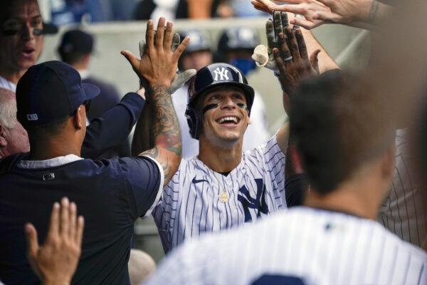 New York Yankees' Andrew Velazquez celebrates