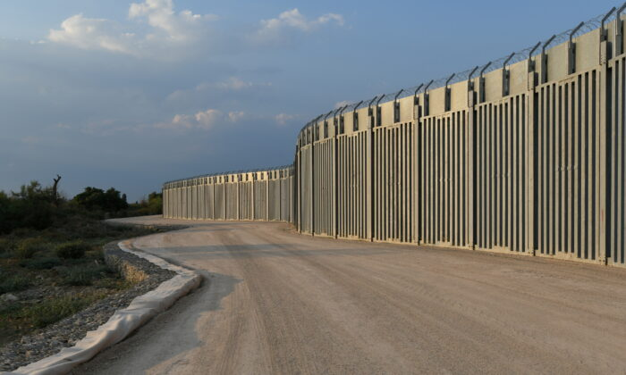 View of a steel border wall between Greece and Turkey in Alexandroupolis, Greece, on Aug. 10, 2021. (Alexandros Avramidis/Reuters)