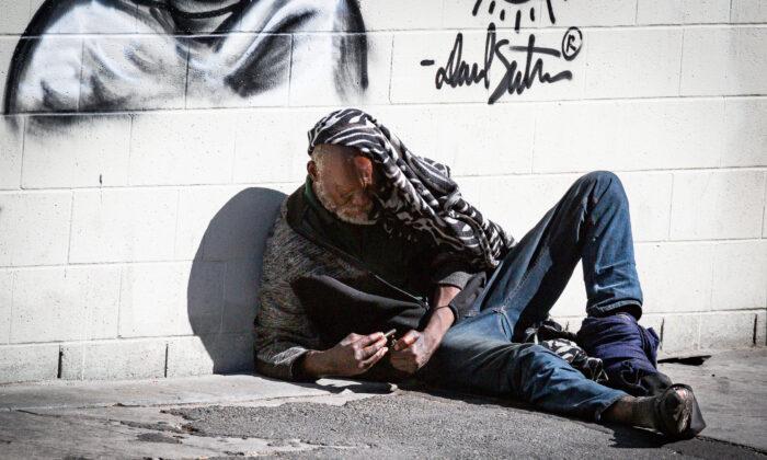 Skid Row in Los Angeles, Calif., on June 9, 2021. (John Fredricks/The Epoch Times)
