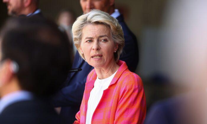 President of the European Commission Ursula Von der Leyen speaks as she attends a news conference at Torrejon Air Base in Torrejon de Ardoz, near Madrid, Spain, on Aug. 21, 2021. (Juan Medina /Reuters)