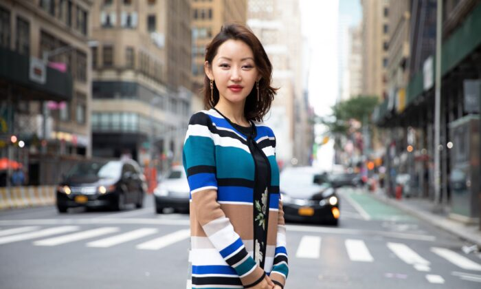 """North Korean defector and human rights activist Yeonmi Park, author of """"In Order to Live,"""" in New York on Aug. 17, 2021. (Brendon Fallon/NTD)"""