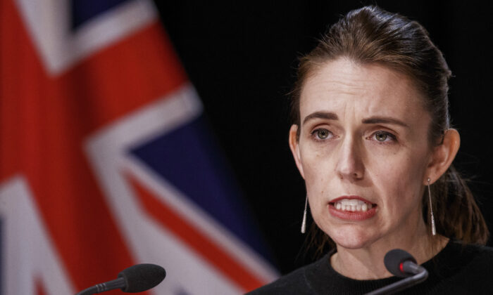 New Zealand Prime Minister Jacinda Ardern, addresses a Covid-19 response update press conference in Wellington, New Zealand, on Aug. 19, 2021. (Robert Kitchin/Pool photo via AP)