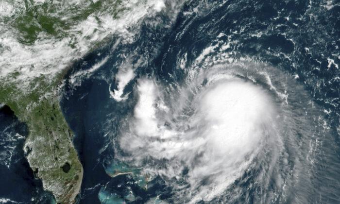 This OES-16 East  GeoColor satellite image shows Tropical Storm Henri in the Atlantic Ocean, on Aug. 20, 2021. (NOAA via AP)