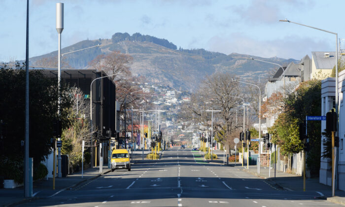 Empty streets are seen in Christchurch, New Zealand, on Aug. 21, 2021. (Kai Schwoerer/Getty Images)