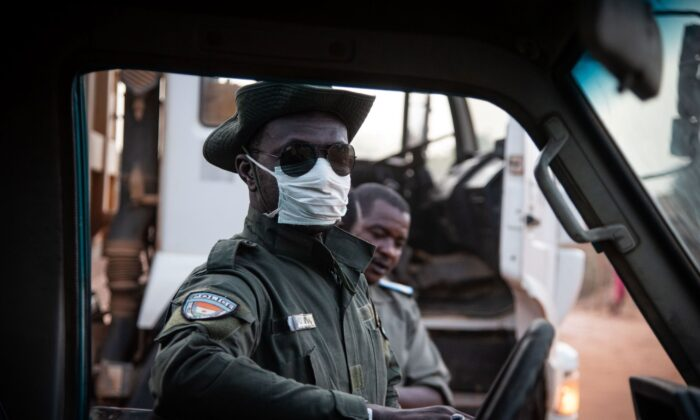 A police officer, Niger, on April 23, 2020. (Nicolas Réméné/AFP via Getty Images)