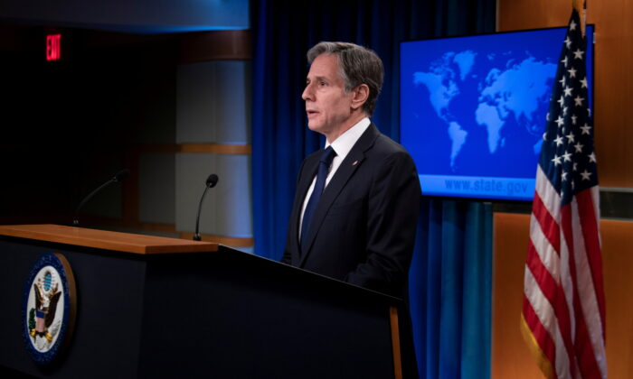 U.S. Secretary of State Antony Blinken speaks about refugee programs for Afghans who aided the U.S. during a briefing at the State Department in Washington, on Aug. 2, 2021. (Brendan Smialowski/Pool via Reuters)