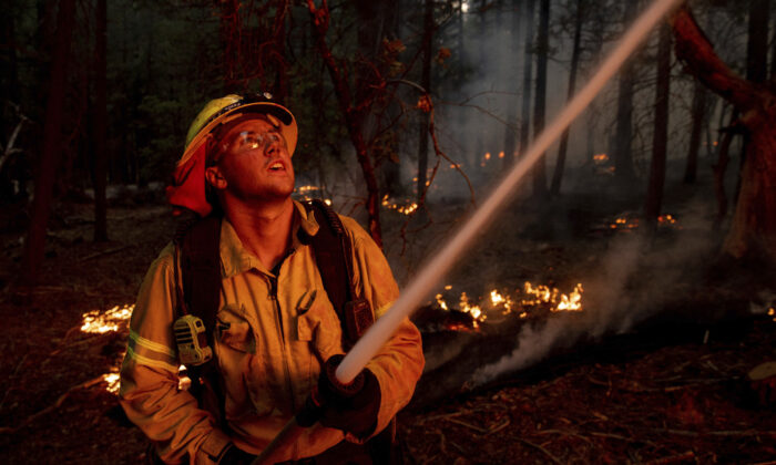 A firefighter hoses down flames from the Dixie Fire in Genesee, Calif., on Aug. 21, 2021. (Ethan Swope/AP Photo)