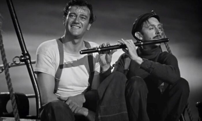 """Ole (John Wayne, L) and his pal Axel (John Qualen) in """"The Long Voyage Home."""" (United Artists)"""