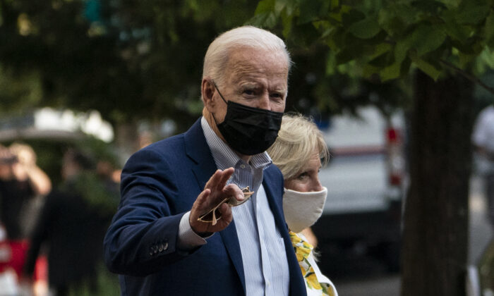 U.S. President Joe Biden and First Lady Jill Biden depart after a service at the Holy Trinity church in the Georgetown neighborhood in Washington on Aug. 21, 2021. (Andrew Caballero-Reynolds/AFP via Getty Images)