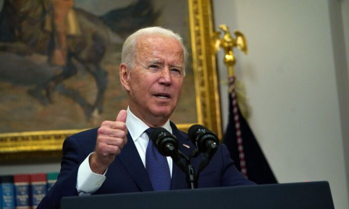 President Joe Biden speaks during an update on the situation in Afghanistan and the effects of Tropical Storm Henri at the White House on Aug. 22, 2021. (Andrew Caballero-Reynolds/AFP via Getty Images)