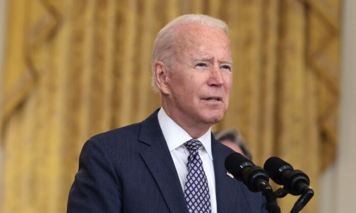 President Joe Biden gestures as delivers remarks on the U.S. military's ongoing evacuation efforts in Afghanistan from the East Room of the White House on Aug. 20, 2021. (Anna Moneymaker/Getty Images)