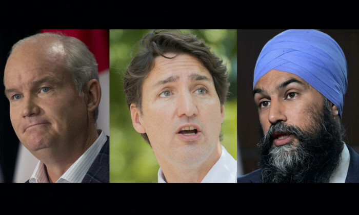 (L-R) Conservative Party Leader Erin O'Toole, Liberal Party Leader Justin Trudeau, and NDP Leader Jagmeet Singh. (The Canadian Press)