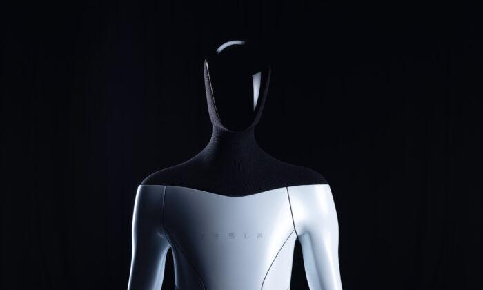 """A """"Tesla Bot"""" humanoid robot prototype. (Courtesy of Tesla)"""