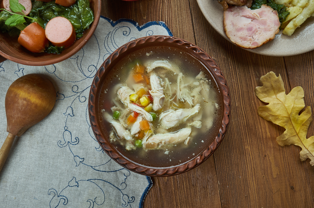 Rivels,,Chicken,Corn,Soup,,Dutch,Cuisine,,Traditional,Assorted,Dishes,,Top