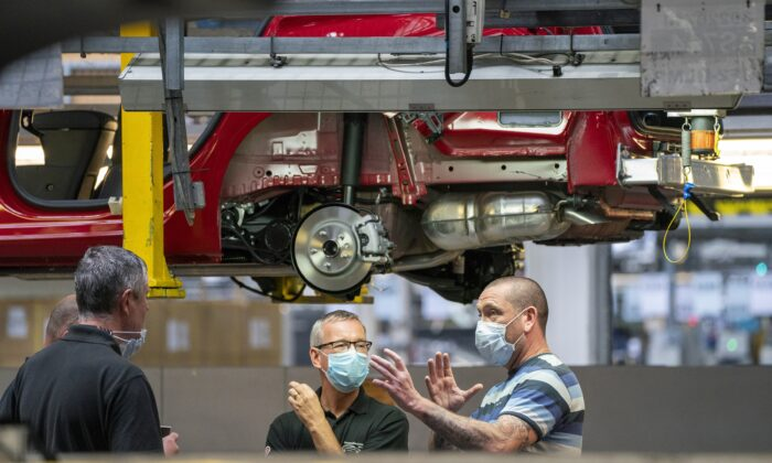 The Astra assembly line at Vauxhall's plant in Ellesmere Port, Cheshire, UK, on July 6, 2021. (Peter Byrne/PA)