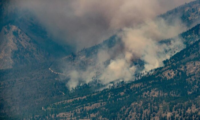 A wildfire burns in the mountains above Lytton, B.C., on July 1, 2021. ( The Canadian Press/Darryl Dyck)