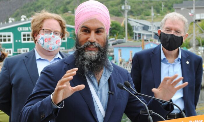 NDP Leader Jagmeet Singh makes his 2021 federal election platform announcement in St. John's, N.L., on Aug. 12, 2021. (The Canadian Press/Sarah Smellie)