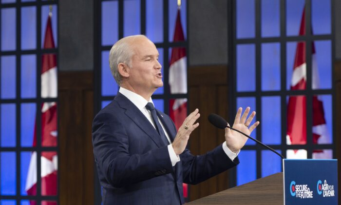 Conservative Leader Erin O'Toole speaks to the media as he launches his election campaign in Ottawa on Aug. 15, 2021. (The Canadian Press/Ryan Remiorz)