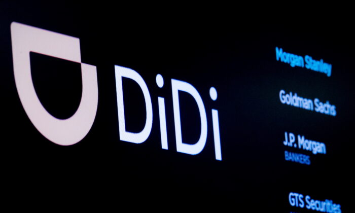The logo for Chinese ride-hailing company Didi Global Inc. is pictured during the IPO on the New York Stock Exchange floor in New York City, on June 30, 2021.  (Brendan McDermid/Reuters)