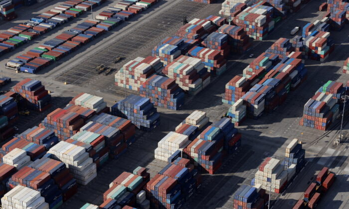 Shipping containers sit on the dock at a container terminal at the Port of Long Beach-Port of Los Angeles complex, in Los Angeles on April 7, 2021. (REUTERS/Lucy Nicholson/File Photo)