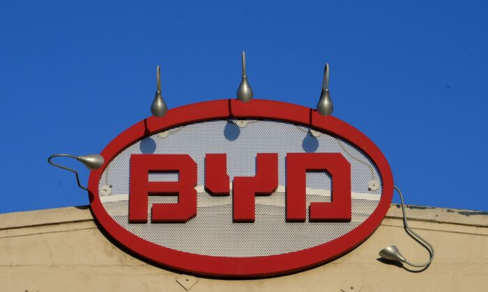 The BYD logo is pictured on top of its office in Los Angeles, California on May 13, 2020. (FREDERIC J. BROWN/AFP via Getty Images)