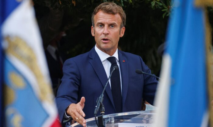 French President Emmanuel Macron delivers a speech in Bormes-les-Mimosas, France, on Aug. 17, 2021. (Eric Gaillard/POOL/AFP via Getty Images)