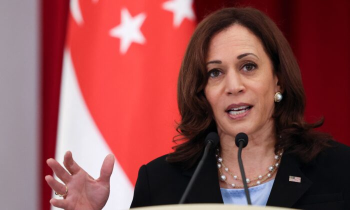 Vice President Kamala Harris speaks during a joint news conference with Singapore's Prime Minister Lee Hsien Loong in Singapore on Aug. 23, 2021. (Evelyn Hockstein/POOL/AFP via Getty Images)