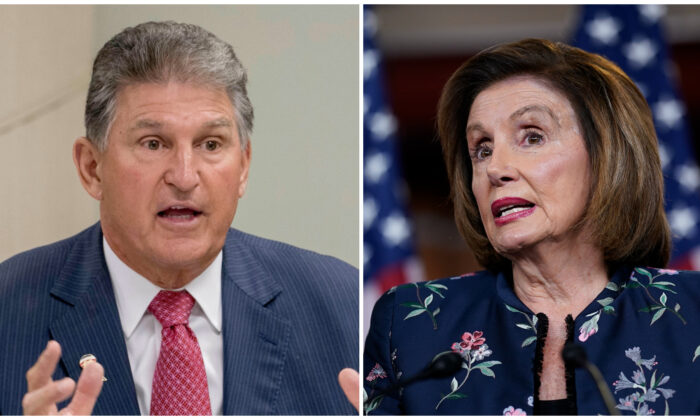 (Left) Sen. Joe Manchin (D-W.Va.) speaks at Cabell-Huntington Health Center in Huntington, West Virginia, on July 8, 2019. (Andrew Harnik/AP Photo); (right) House Speaker Nancy Pelosi (D-Calif.) gestures at the Capitol building in Washington on July 22, 2021. (Anna Moneymaker/Getty Images)