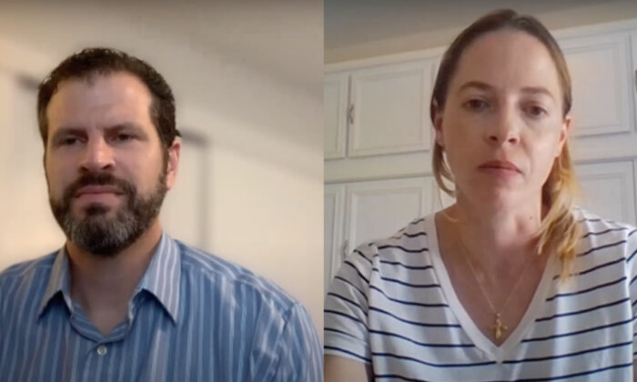 Michael Denny (L), a Chief Investment Officer who runs The Investment Nerd, Rachel Hartman (R), Epoch Times reporter on screenshot from video interview. (Screenshot via The Epoch Times)