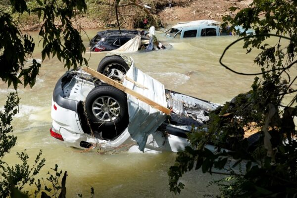 Vehicles rest in a stream