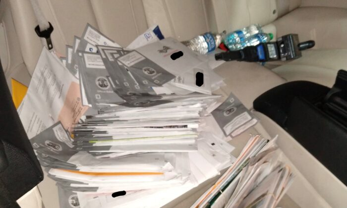More than 300 mail-in ballots were found in a suspect's car in Torrance, Calif., on Aug. 16, 2021. (Courtesy Torrance Police Department)
