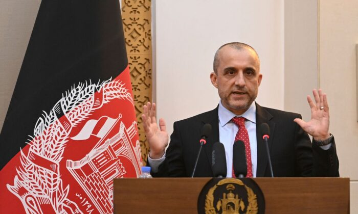Vice President of Afghanistan Amrullah Saleh speaks during a function at the Afghan presidential palace in Kabul, on Aug. 4, 2021. (Sajjad Hussain/AFP via Getty Images)