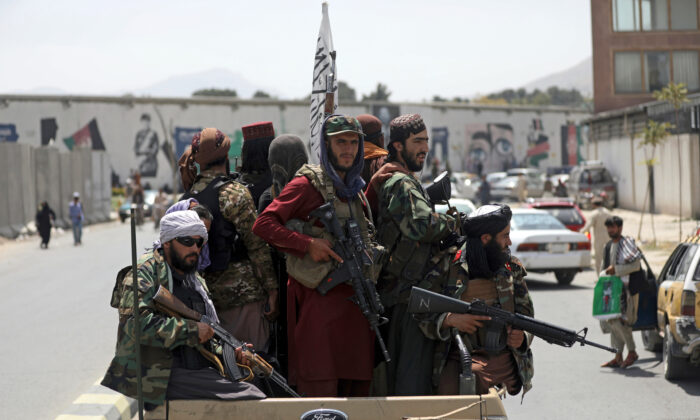 Taliban fighters patrol in Kabul, Afghanistan on Aug. 19, 2021. (Rahmat Gul/AP Photo)