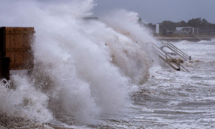 As Tropical Storm Henri affects the Atlantic coast, waves pound the seawall in Montauk, N.Y., on Aug. 22, 2021. (Craig Ruttle/AP Photo)