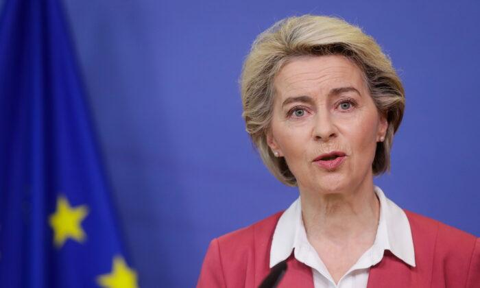 European Commission President Ursula von der Leyen in Brussels, Belgium, on July 27, 2021. (Stephanie Lecocq/Pool via Reuters)