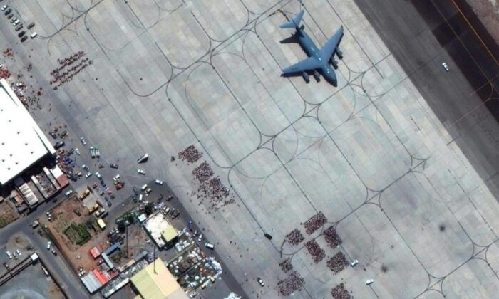 In this satellite photo released by Maxar Technologies, Kabul's international airport is seen amid evacuations on Aug. 23, 2021. (The Canadian Press/AP-Satellite image ©2021 Maxar Technologies)