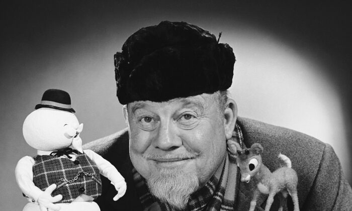 """Burl Ives in the role he is likely remembered best for today: The voice of the narrator, Sam the Snowman, in the stop-motion-animated TV special """"Rudolph, the Red-Nosed Reindeer."""" (NBC)"""
