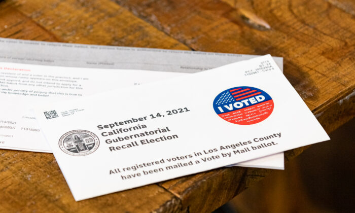 A California Recall Ballot for Los Angeles County. (John Fredricks/The Epoch Times)