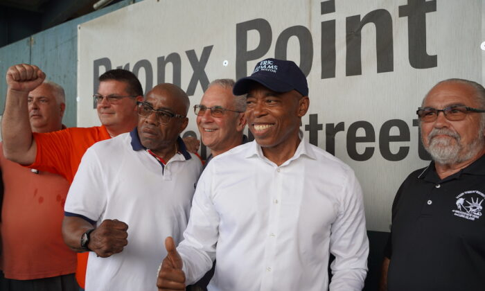 Eric Adams participates in a rally hosted by Laborers in Brooklyn, New York, on Aug. 23, 2021. (Enrico Trigoso/The Epoch Times)